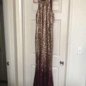 Lulu's Dresses - BURGUNDY AND ROSE GOLD OMBRE SEQUIN MAXI DRESS